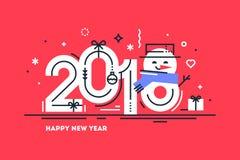 Una linea sottile piana felice cartolina d'auguri o insegna da 2018 nuovi anni orizzontale con il numero sveglio 8 del pupazzo di Immagini Stock