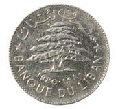Una Lira di inverso della moneta, 1980, Libano Immagine Stock