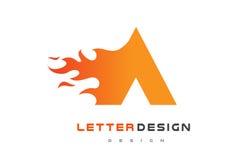 Una llama Logo Design de la letra Fuego Logo Lettering Concept Imagen de archivo libre de regalías