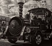 Una locomotora de vapor vieja miniatura fotografía de archivo