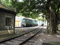 Una locomotora diesel en el museo ferroviario de Hong Kong, Tai Po, fotos de archivo