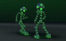 Una lotta di gioco del calcio di un indicatore luminoso dei due concorrenti Fotografie Stock