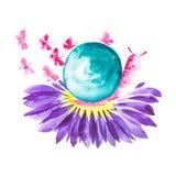 Una lumaca rosa con le coperture verdi si siede su un fiore della margherita e le farfalle volano intorno Illustrazione comica de illustrazione vettoriale