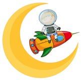 Una luna e un ragazzo sul razzo Fotografia Stock