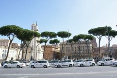 Una lunga fila di taxi bianchi che aspettano i turisti a Roma Immagini Stock Libere da Diritti