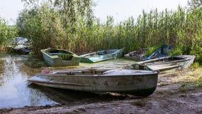 Una lunghezza mezza della barca a remi dall'acqua sulla riva fotografia stock