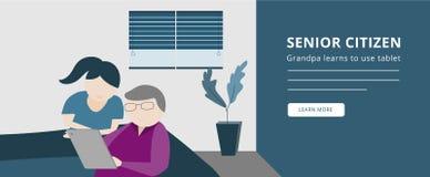 Una más vieja gente o el jubilado aprende utilizar la bandera de las tabletas ilustración del vector