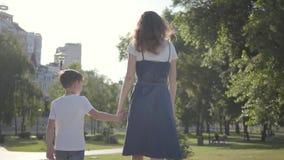 Una más vieja hermana que camina con el hermano menor que lleva a cabo las manos en el parque del verano Ocio al aire libre Relac almacen de video