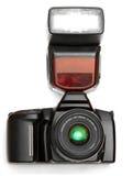 Una macchina fotografica con il flash Fotografie Stock Libere da Diritti