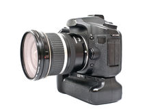 Una macchina fotografica nera isolata Fotografia Stock