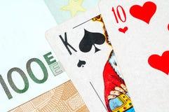 Tarjetas del dinero y del póker Imagen de archivo libre de regalías