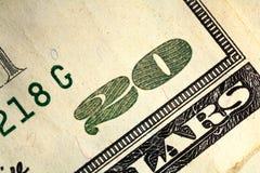 Una macro dei venti dollari Fotografie Stock Libere da Diritti
