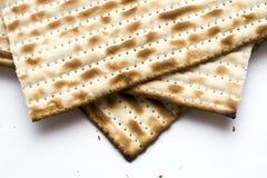 Una macro di tre Matzohs (matza) Fotografie Stock