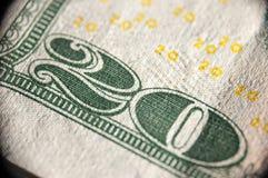 Una macro immagine di una banconota di 20 dollari Immagine Stock