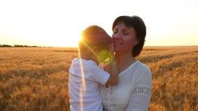 Una madre felice tiene un bambino nelle sue armi in un giacimento di grano, il bambino bacia la madre, la madre bacia il bambino video d archivio