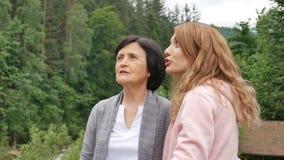 Una madre jubilada mayor y una hija adulta están hablando contra la perspectiva de las montañas enselvadas D?as de fiesta en almacen de video