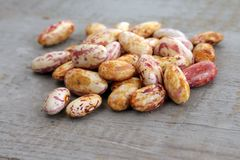 Una manciata di fagioli dei semi su fondo di legno Immagini Stock Libere da Diritti