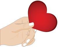 Una mano che dà cuore Fotografia Stock