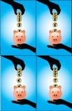 Una mano che salva la valuta differente conia in un porcellino salvadanaio Immagine Stock