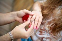 Una mano de un hombre que pone un anillo en el dedo de la muchacha Imagen de archivo libre de regalías