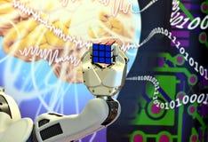 Una mano del robot che tiene un cubo del ` s di Rubik con fondo astratto Fotografia Stock