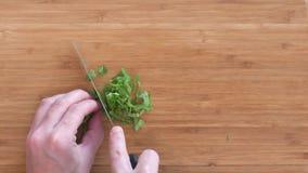 Una mano del ` s de la mujer que taja albahaca fresca en una tabla de cortar de bambú metrajes