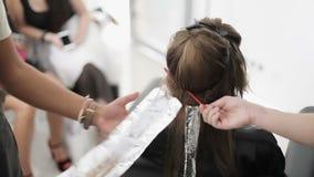 Una mano del ` s dell'uomo con i tatuaggi mette una pittura su un mèche di capelli femminili lunghi facendo uso del e della spazz archivi video