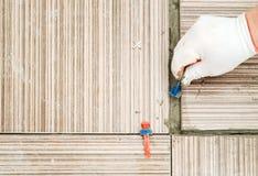 Una mano del ` s delle mattonelle dispone una clip di plastica Fotografia Stock Libera da Diritti
