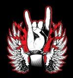 Una mano del ` s del hombre que muestra la muestra del rock-and-roll Festival de música rock stock de ilustración