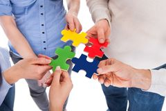 Una mano di cinque genti con il puzzle Immagine Stock