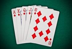 Una mano di poker reale delle carte da gioco di vampata diritta Immagini Stock Libere da Diritti