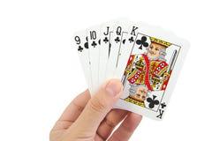 Una mano di poker reale delle carte da gioco di vampata diritta dentro Fotografia Stock Libera da Diritti
