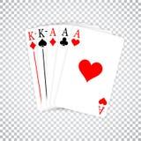 Una mano di poker tutto esaurito tre assi e paia delle carte da gioco di re illustrazione di stock