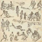 Una mano dibujada, dibujo a pulso, colección - deporte Fotos de archivo