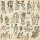 Una mano dibujada, dibujo a pulso, colección - gente Fotografía de archivo