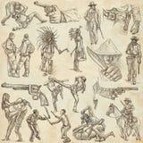 Una mano dibujada, dibujo a pulso, colección - guerreros Fotografía de archivo libre de regalías