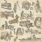 Una mano dibujada, dibujo a pulso, colección - transporte Imagenes de archivo