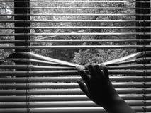 Una mano e ciechi fotografie stock