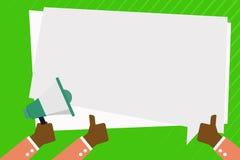 Una mano est? sosteniendo el meg?fono y los otros dos est?n gesticulando los pulgares para arriba Discurso rectangular del color  ilustración del vector