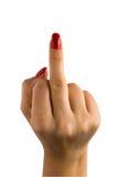 Una mano femenina con los clavos rojos muestra el dedo medio foto de archivo libre de regalías