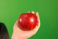 Una mano que sostiene una manzana en estudio verde de la pantalla Foto de archivo