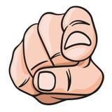 Una mano vista del frente que señala en algo stock de ilustración
