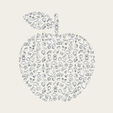Una manzana con los elementos de la educación Imagen de archivo