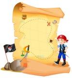 Una mappa del tesoro con un giovane pirata Immagine Stock