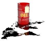 Una mappa di mondo e del barile di petrolio Fotografia Stock Libera da Diritti