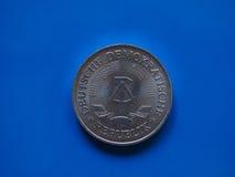 Una marca de RDA sobre azul Imagen de archivo libre de regalías
