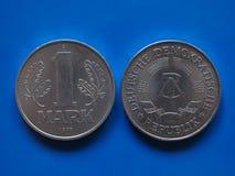 Una marca de RDA sobre azul Fotos de archivo