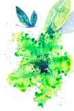 Una mariposa hermosa vuela sobre una flor verde abstracta Ejemplo de la acuarela aislado en el fondo blanco libre illustration
