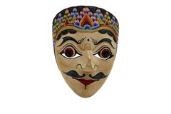 Una maschera indonesiana, topeng, maschera su fondo bianco fotografia stock libera da diritti