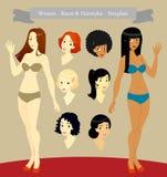Women_Races & Hairstyles_Template Immagine Stock Libera da Diritti